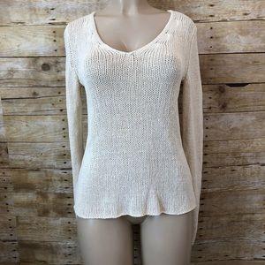 BANANA REPUBLIC | 100% Silk Cream Sweater Size S